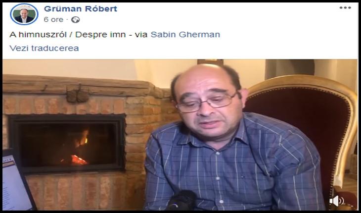 Vicepreședintele consiliului județean Covasna continuă să-și arate alergia la imnul național, folosind argumentele lui Sabin Gherman, Foto: captură facebook