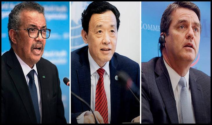 Tedros Adhanom Ghebreyesus, QU Dongyu și Roberto Azevedo, directorii generali ai OMS, FAO și OMC. Foto:©FAO