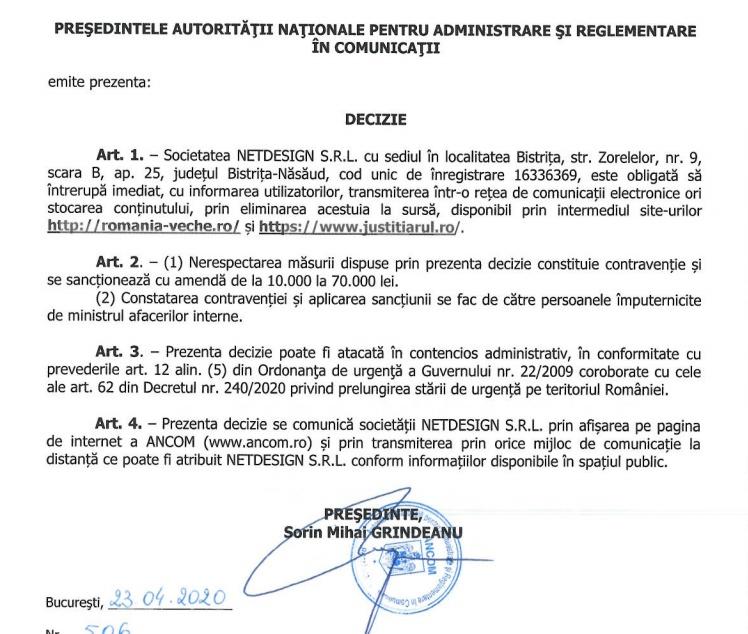 Decizia ANCOM de închidere a site-ului Justitiarul.ro