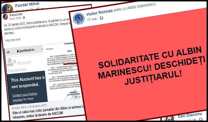 Reacții de solidaritate jurnalistică în România cu Marius Albin Marinescu și Justitiarul.ro, Foto: captură facebook