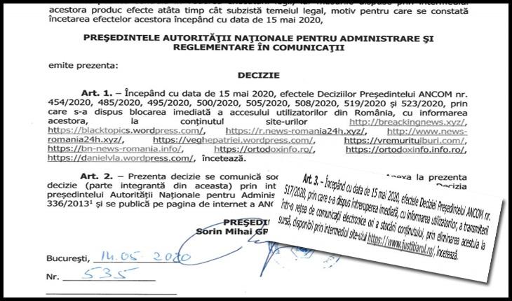 Pentru peste o duzină de site-uri din România se sfârșește azi dictatura orwelliană. ANCOM-ul le-a eliberat!