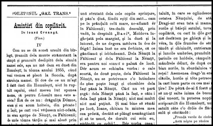 La 8 mai 1892 apărea în Gazeta Transilvaniei un fragment din Amintiri din copilărie, de Ion Creangă