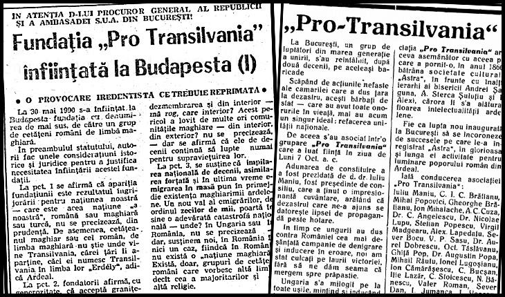 """La 30 Mai 1990 se înființa la Budapesta Fundația Pro Transilvania, """"o provocare iredentistă ce trebuie reprimată"""""""