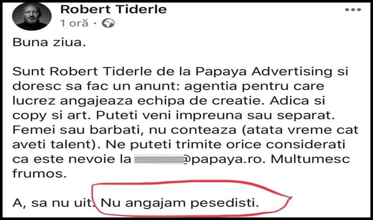 Antipesedismul dăunează buzunarului? Robert Tiderle de la Papaya Advertising sfidează CNCD-ul?, Foto: captură Facebook