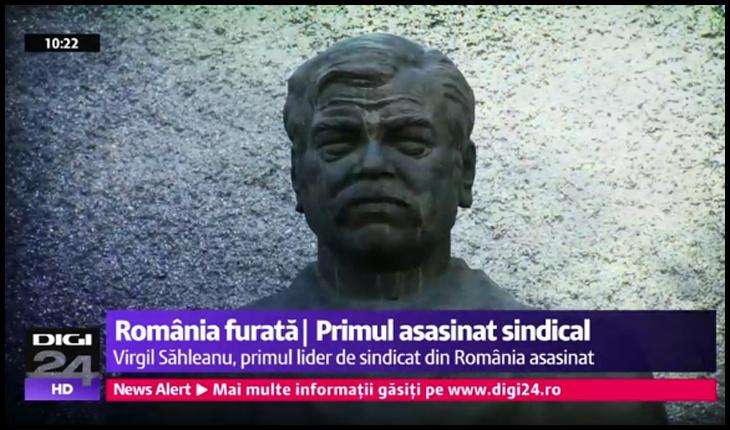 Bustul liderului sindical de la TEPRO Iași, Virgil Săhleanu, Foto: Digi 24