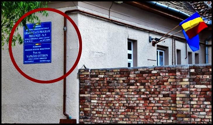 Imagine cu clădirea grădiniței înainte de furtul plăcii cu înscrisuri în limba română, Foto: buletindecarei.ro