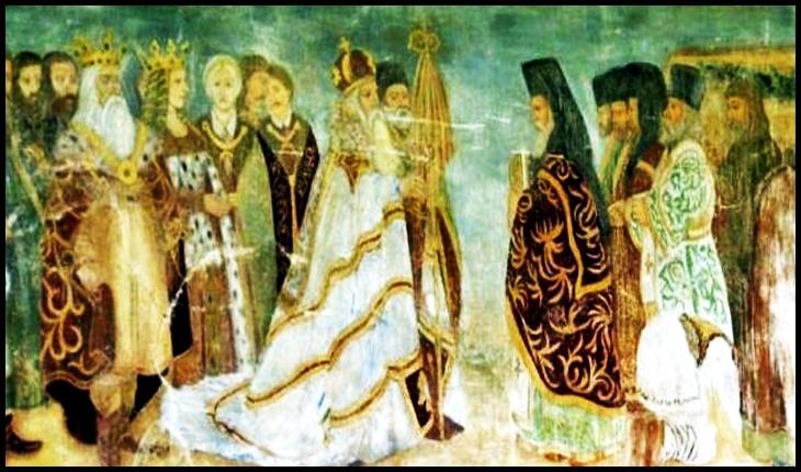 Alexandru cel Bun și alaiul domnesc la întâmpinarea moaștelor Sf. Ioan cel Nou - frescă de la Mănăstirea Sf. Ioan cel Nou Suceava