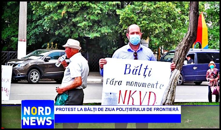 """Protest la Bălți de Ziua Polițistului de Frontieră: """"Bălți fără monumente NKVD-iste!"""", Foto: captură youtube nordnews.md"""