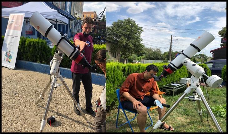 CEL MAI MARE TELESCOP SOLAR LA TG. BUJOR: Soarele văzut din Târgu Bujor, prin cel mai mare telescop destinat publicului