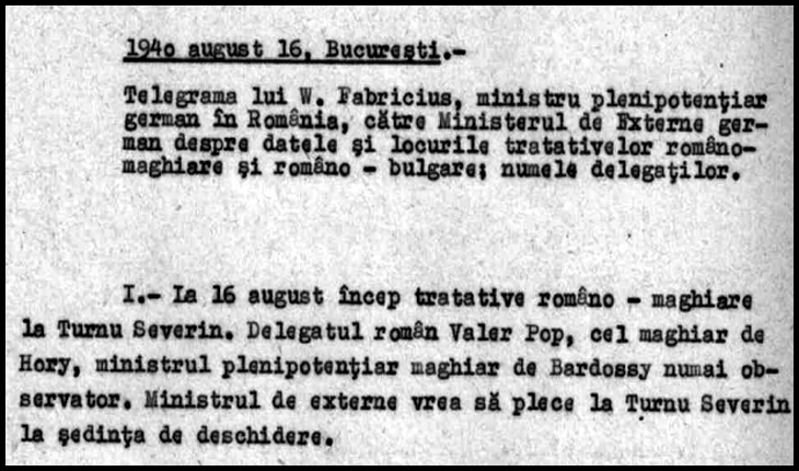 16 August 1940: momentul care conduce către Dictatul de la Viena din 30 august 1940, Foto: Arhivele Naționale ale României