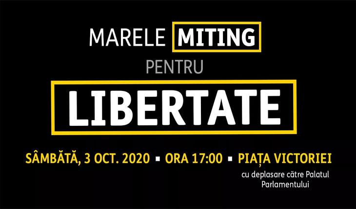 Miting de amploare pentru libertate anunțat pentru azi în Piața Victoriei, de la ora 17:00