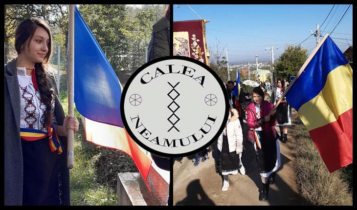 De Sfinții Arhangheli Mihail si Gavriil au răsărit florile românismului la Vladiceni, Iași: copii îmbrăcați în haine naționale dăruite de Calea Neamului, filiala Iași