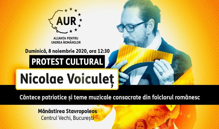Protest cultural cu cântece patriotice la nai în Centrul Vechi: Nicolae Voiculeț