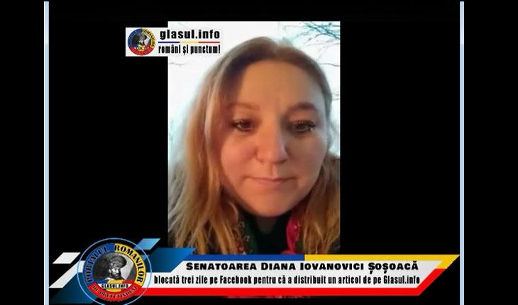 (VIDEO) Senatoarea Diana Iovanovici-Șoșoacă blocată trei zile pe facebook pentru că a distribuit un articol de pe Glasul.info