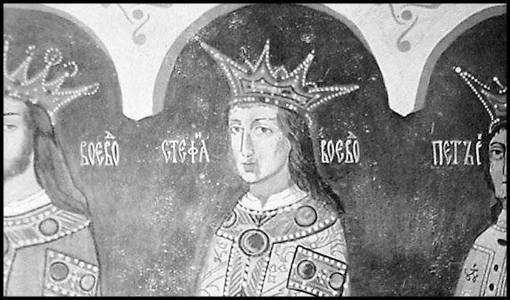 Ștefăniță Vodă pictat în Biserica Sf. Nicolae din Dorohoi alaturi de Bogdan cel Orb și Petru Rareș