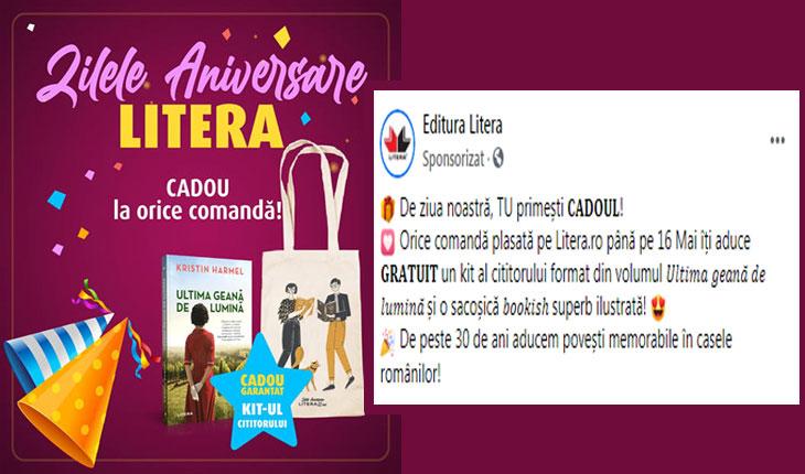 Editura Litera își recompensează cititorii: Orice comandă plasată pe Litera.ro până pe 16 Mai îți aduce 𝐆𝐑𝐀𝐓𝐔𝐈𝐓 un kit al cititorului format din volumul 𝑈𝑙𝑡𝑖𝑚𝑎 𝑔𝑒𝑎𝑛𝑎̆ 𝑑𝑒 𝑙𝑢𝑚𝑖𝑛𝑎̆ și o sacoșică 𝑏𝑜𝑜𝑘𝑖𝑠ℎ superb ilustrată!