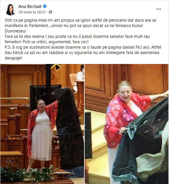 Ana Birchall, pupătoarea de clanțe pe la toate ambasadele antiromânești și prin mediul politic, iubește cenzura și totalitarismul: Îi rog pe susținătorii Dianei Șoșoacă să o laude pe pagina dânsei, altfel dau block, Foto: captura facebook