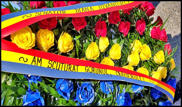 Coroana dedicată comemării lui Avram Iancu de către senatoarea Diana Iovanovici-Șoșoacă