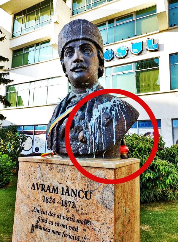 Cu cinci zile înainte de comemorarea morții lui Avram Iancu, bustul eroului național de la Satu Mare a fost vandalizat cu vopsea