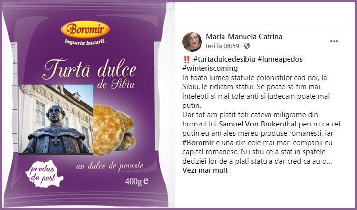 """O româncă adevărată din Sibiu ia atitudine împotriva companiei Boromir: """"Au obligația să susțină în aceaași măsură statui ale românilor!"""", Foto: faceboo/ Maria-Manuela Catrina"""
